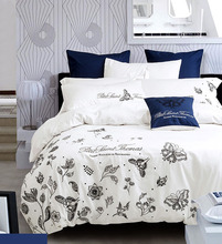 butterfly flowers leaf embroidered bedding sets white blue green purple colors bed linens pure cotton duvet cover bed sheet