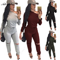 Adogirl 2016 Fashion Plus Size Sexy Rompers For Women Long Sleeve Bodycon One piece Outfits Long Pants Grey Casual Jumpsuits