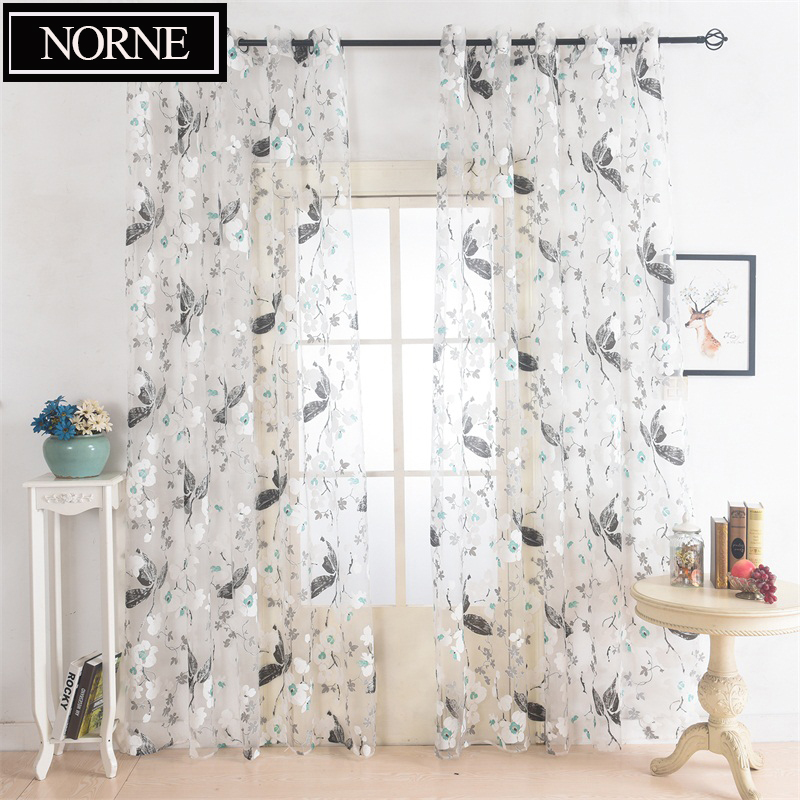 NORNE Decoration Floral Pattern Window Tulle Voile Sheer Curtain Panel Drapery for Living Room Bedroom Kitchen Modern Curtains