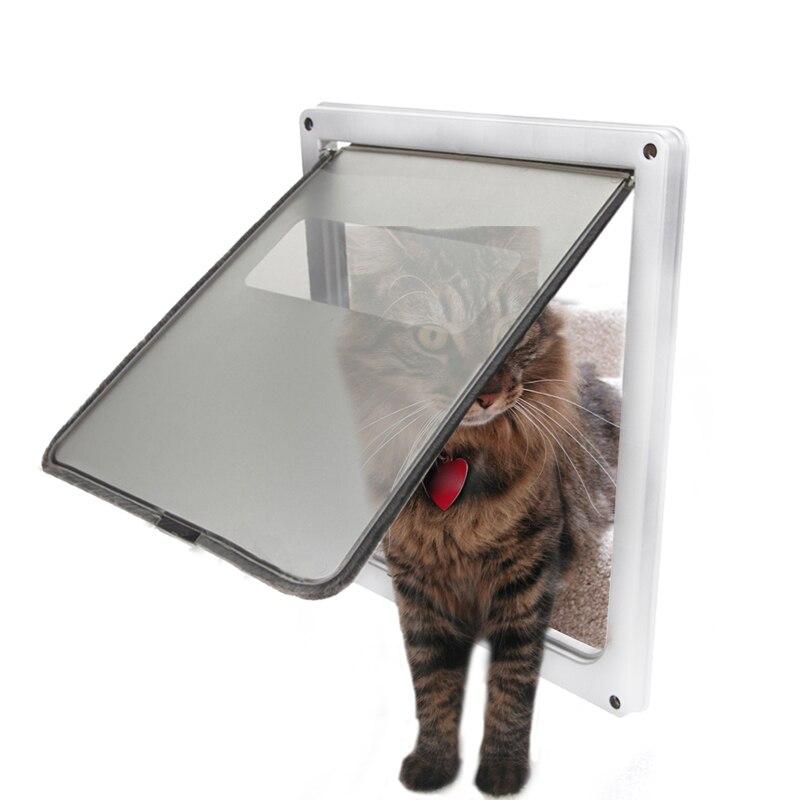 Extra Large 13.7''x11.8''x1.5''Pet Cat Dog Lockable Flap Door Gate Telescoping Frame Transparent Magnetic Closure Design Doors