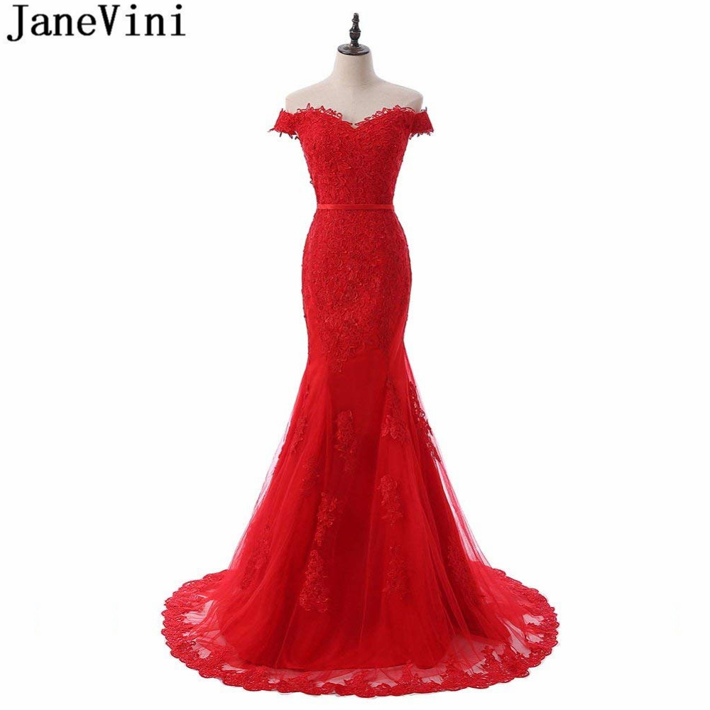 JaneVini Graceful Red Tulle Long   Bridesmaid     Dresses   Lace Appliques Sweetheart Button Back Mermaid Sweep Train Prom Party Gowns