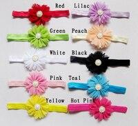 10PCs Per Set 10Colors Baby Girls Faux Pearl Rhinestone Daisy Flowers Elastic Headband Handmade Free Shipping
