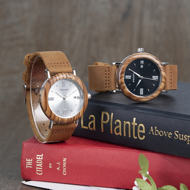 Classic Wooden Watch With Crystals