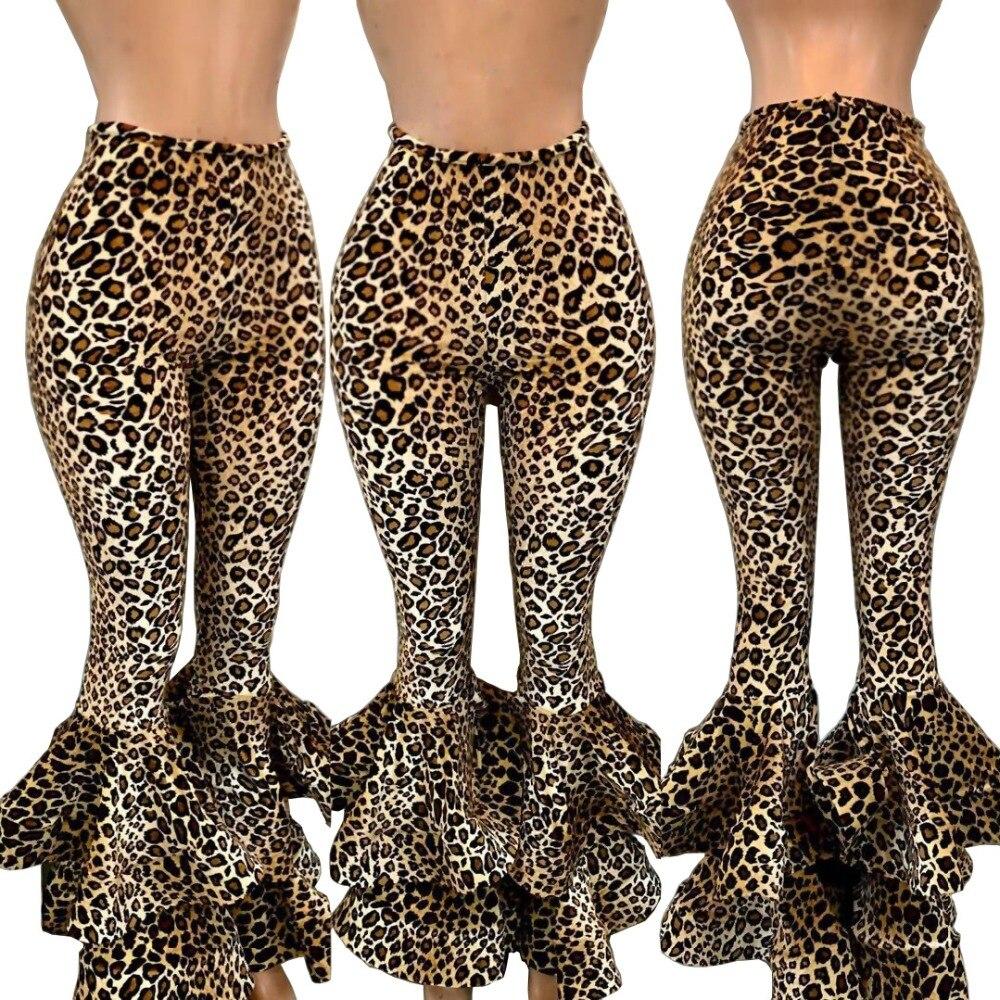 New Ruffle Trousers Autumn New High Waist Wide Leg Pants Women Leopard Print Sexy Trousers  Palazzo Bottoms Fashion Flare Pants
