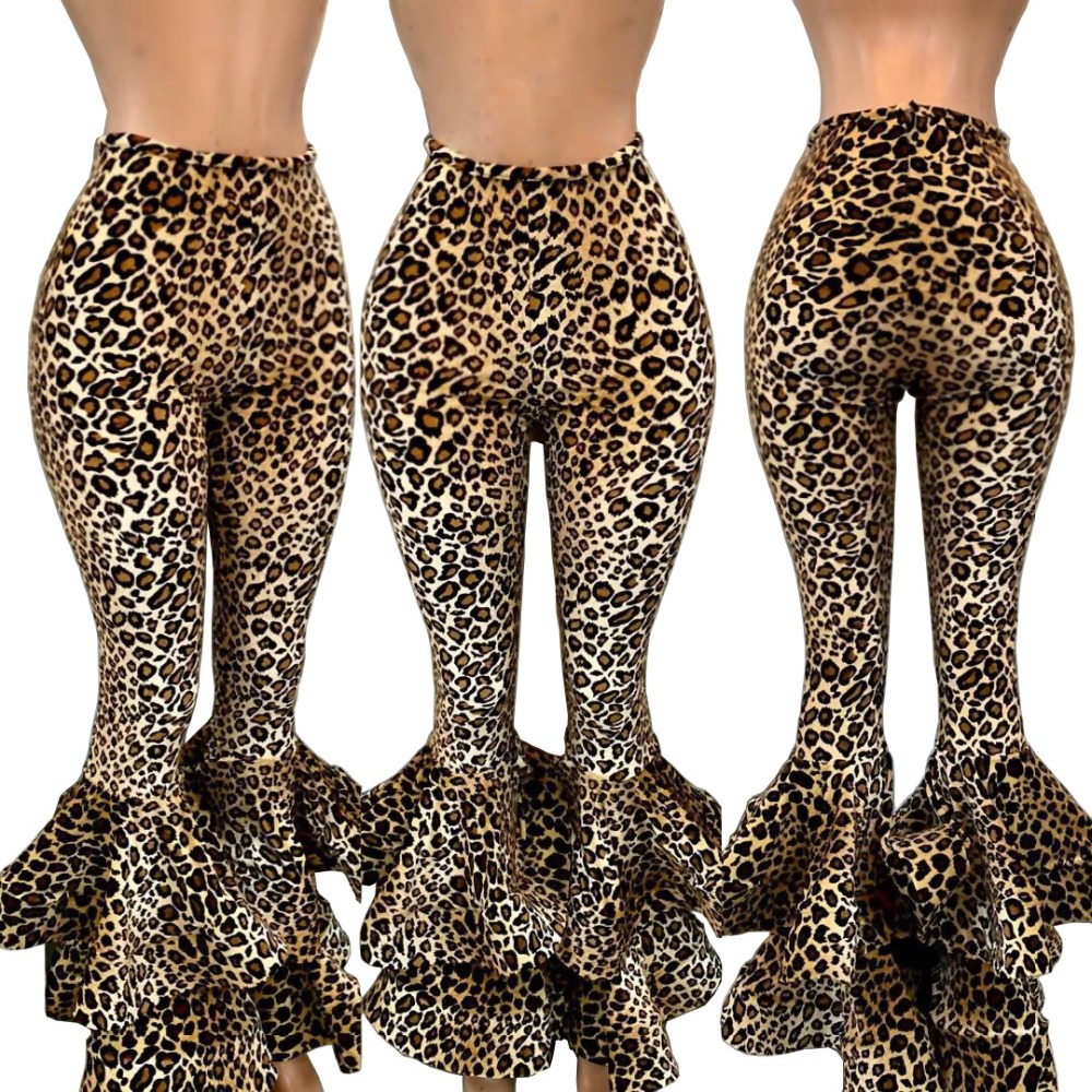 New Ruffle Trousers Autumn New High Waist   Wide     Leg     Pants   Women Leopard Print Sexy Trousers Palazzo Bottoms Fashion Flare   Pants