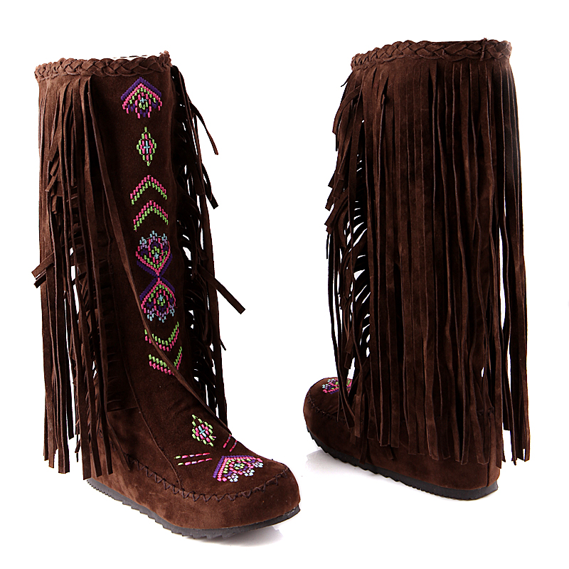 Fringe Increased Inside Solid Ethnic Boots For Women