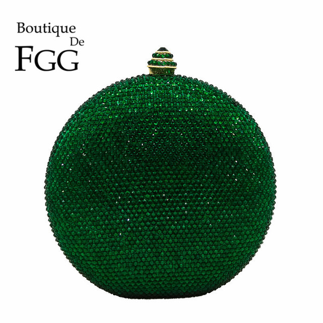 Boutique De FGG Round Wine Pot Women Clutches Crystal Evening Clutch Bags Green Emerald Diamond Wedding Handbag Bridal Purse
