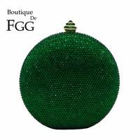 Boutique De FGG Round Wine Pot Women Clutches Crystal Evening Clutch Bags Green Emerald Diamond Wedding Handbag Bridal Purse