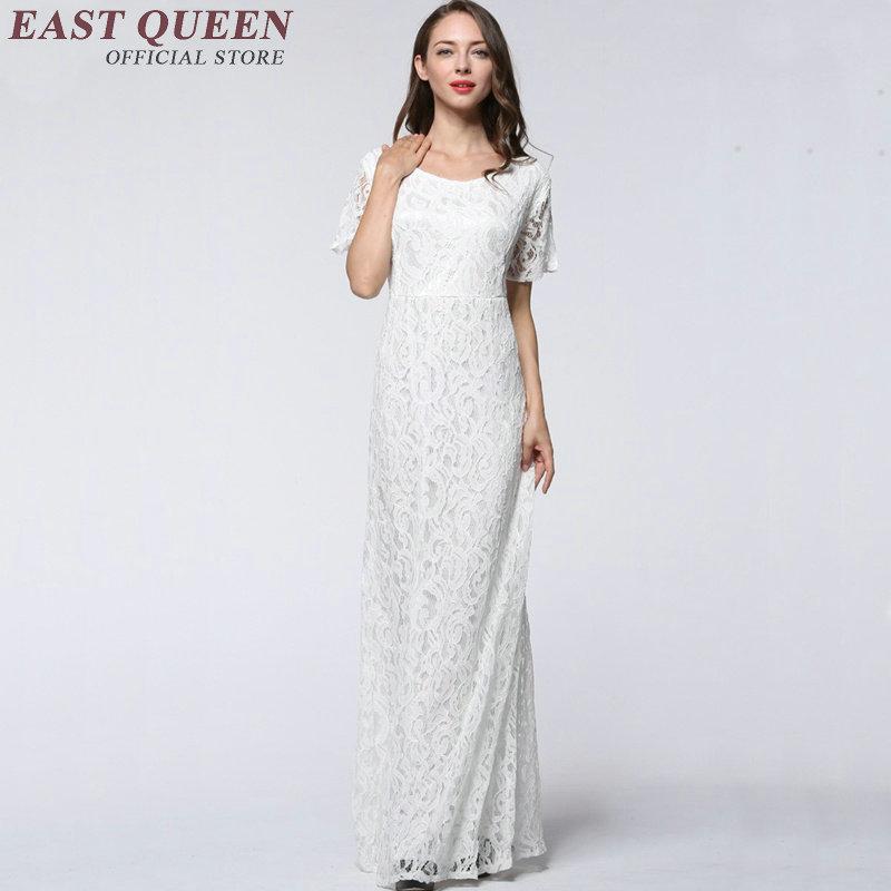 Robe en dentelle blanche 2018 col rond maxi robe d'été à manches courtes robes de soirée pour les femmes de grande taille XL-9XL NN0728 CQ