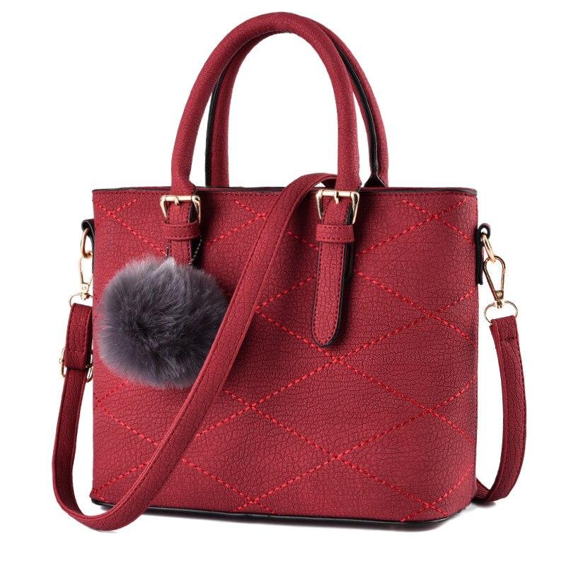 Korean Style Fashion Plaid font b Handbag b font Succinct Fur Ball Ornamet Large Chic Bag