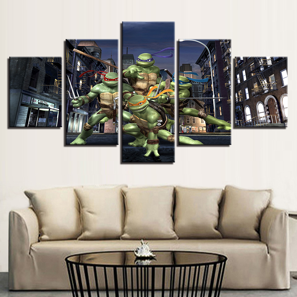 Modern Canvas Home Decor Wall Art Posters 5 Panel Teenage Mutant Ninja Turtles Living Room Pictures HD Printed Painting Frame