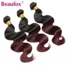 Beaufox Ombre Brazilian Hair Weave Bundles 1B/99j Burgundy Two Tone Human Hair Extensions Non Remy Hair Weaving