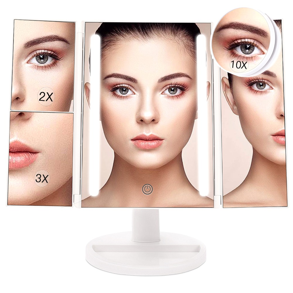 BESTOPE LED Makeup Mirror with 24 Lights 10X/3X/2X/1X Magnifying Standing Desktop Cosmetic Mirror Trifold Portable Vanity Mirror large 8 inch fashion high definition desktop makeup mirror 2 face metal bathroom mirror 3x magnifying round pin 360 rotating