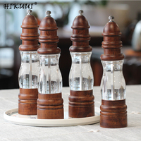4pcs/set Manual Pepper Salt Mill Grinder Dry Spice Sauce Grinder Peper Weed Malt Grain Mill Wood + Acrylic Kitchen Gadgets
