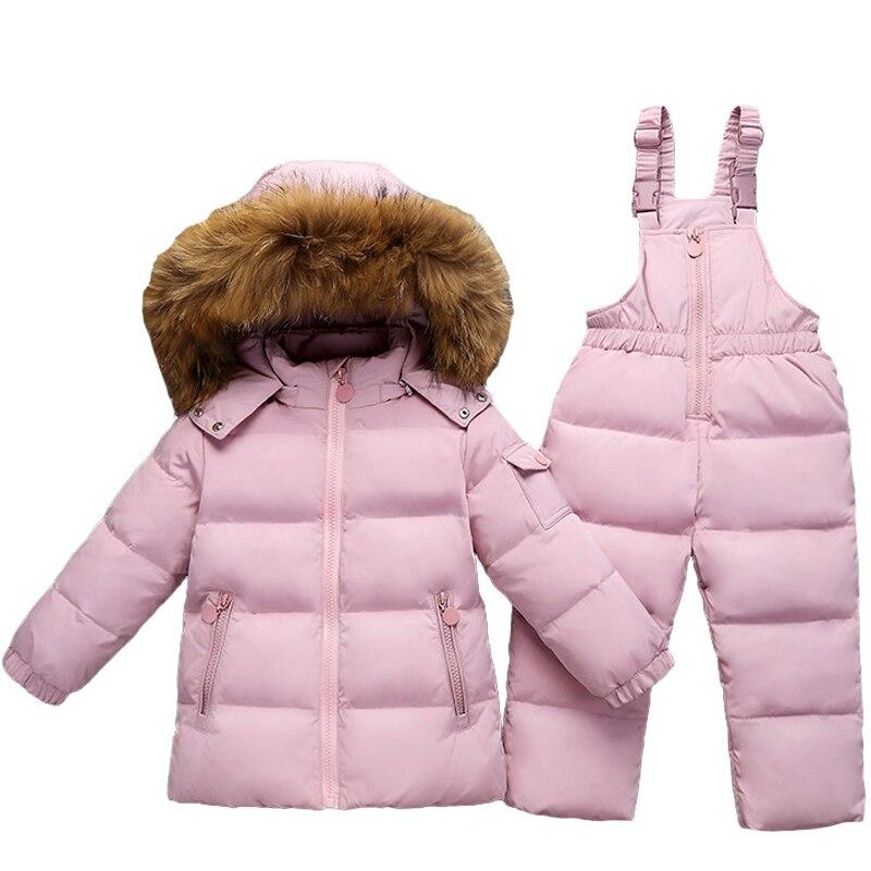 купить Children Suit Boy Ski Suit -30 Degree Russian Girls Winter White Duck Down Parka Coat Jacket +Pants Kids Clothing Set Snow Wear недорого
