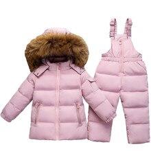 e2419448da01d Costume enfants garçon Ski costume-30 degrés filles russes hiver blanc  canard vers le bas Parka manteau veste + pantalon enfants.