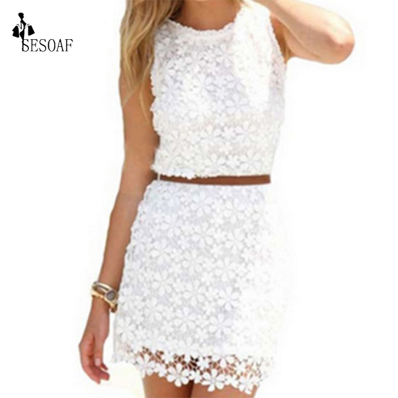 SESOAF Spring Summer Dresses Women Lace dress Sleeveless Knee-Length vestidos de renda Body Package Hip Sexy Dress