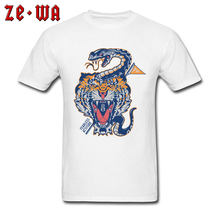 Cool Novelty T Shirts Northeast Tiger Monocled Cobra Snake Tattoo Image Tshirt For Men 100% Cotton Fabric Adult Tees Cotton(China)