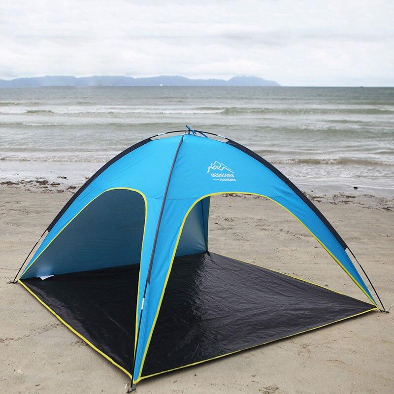 4 человек на пляже палатки Сверхлегкий пляж палатка Солнечные укрытия большой открытый складной тент Tenda ветер устойчивостью tente наружное