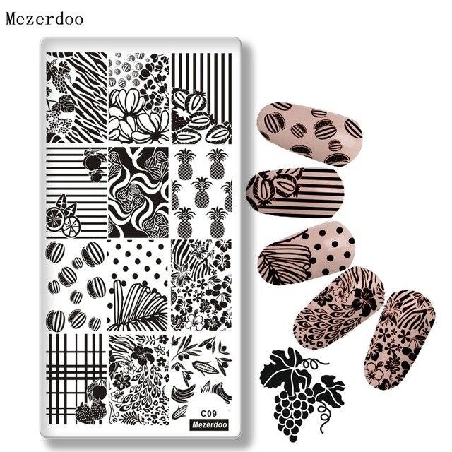 mezerdoo 1pcs summer fruit design stamping template pineapple leaf