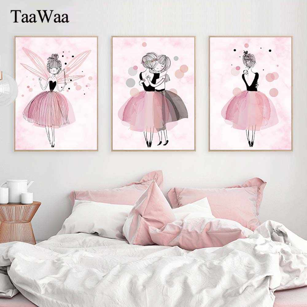 TaaWaa Watercolor Pink Princess Posters and Prints Ballet Girl Wall Art Nordic Style Painting Pictures for Girls Kids Room Decor
