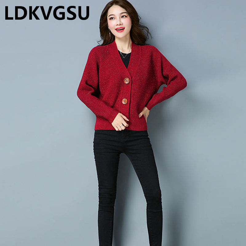 2019 Spring Autumn New Women's Korean Sweater Cardigan Women Short Single Breasted Solid Color Large Size Loose Knit Coat Is1732