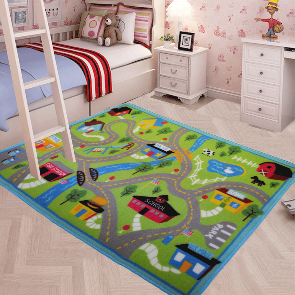 yazi Play Game Mat Racing Track Carpet Children Baby Kids Interest Funny Rug Living Room Bedroom Home Decor 80x120cm