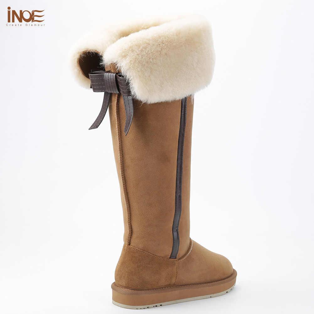 INOE diz koyun derisi süet deri yün kürk Shearling kaplı uzun yüksek kışlık botlar kadınlar için Bow-knot kar botları ayakkabı