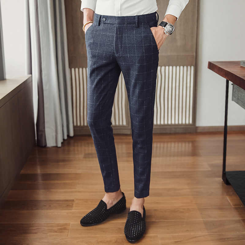 af50daa6213 2018 new plaid pants men s business casual pants Slim Korean version of the  trend of small