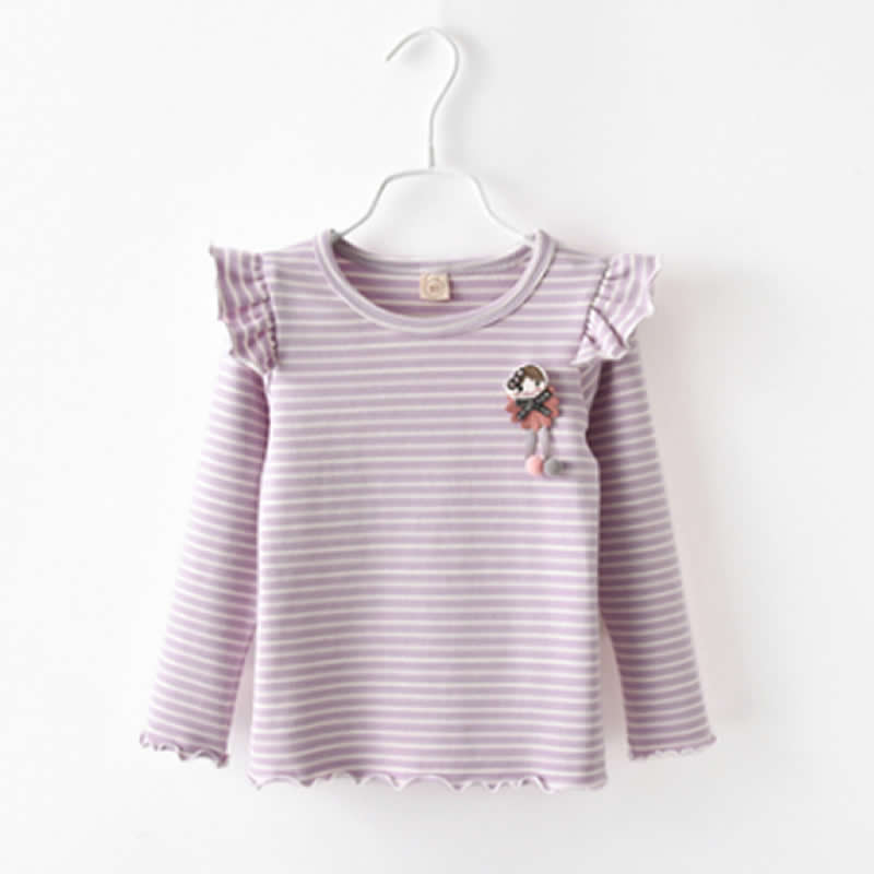 New Girls Striped Horn Sleeve Blouse Spring Autumn Childrens Clothing Bow Cotton Loose Cute Shirt Tops Baby Tees Designer