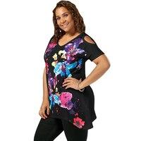 CharMma 2017 XL 3XL Summer T Shirt Women Fashion Plus Size Cold Shoulder Short Sleeve Splatter