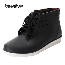 Rubber Shoes Man Rain Boots Comfortable Black Man Boots 2017 Waterproof Round Toe brand Kawaihae Ankle boots