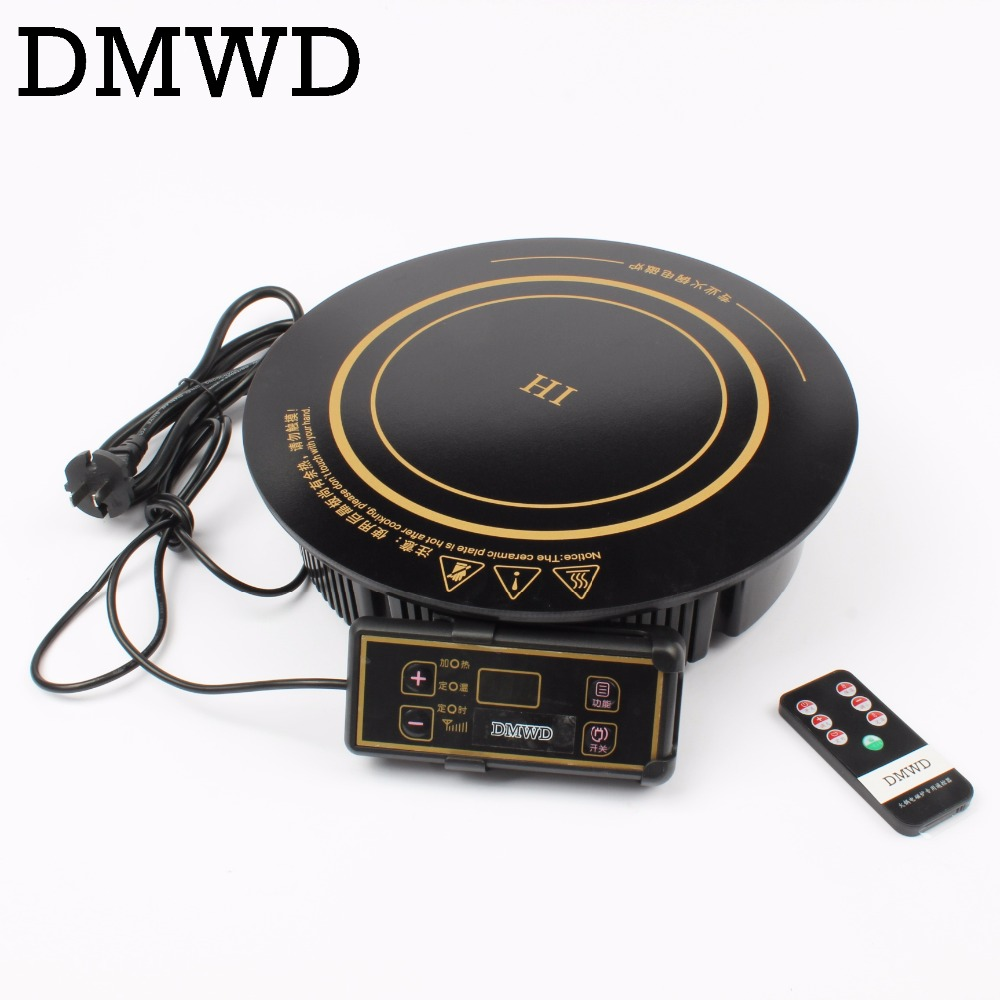 DMWD Round electric magnetic induction cooker embedded wire control Burner wireless remote control hot pot cooktop hotpot stove electric 4 heads and 6 heads induction cooker embedded electromagnetic oven household commercial electromagnetic furnace cooking