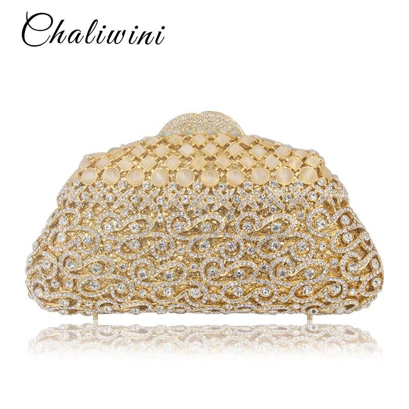 Lady golden portefeuille mariage embrayage métallique évider diamant pierre mère de perle sac de soirée clair boîte de toilette sac sacs à main