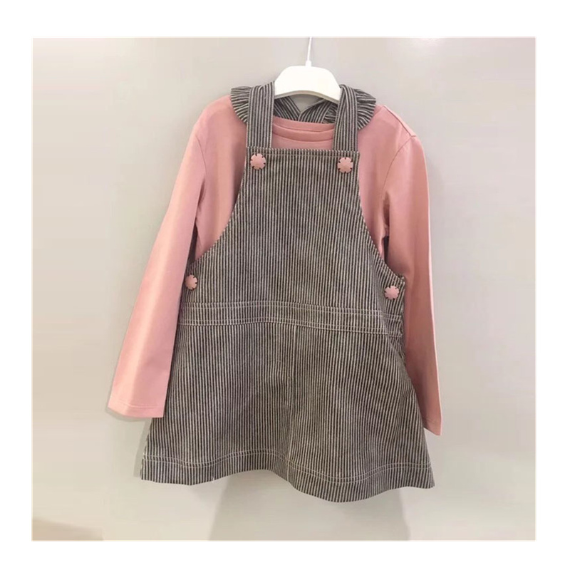 Spring Autumn children clothing set cotton o-neck solid pink colour long sleeve T Shirt + overall dress boutique kids clothes цена 2017