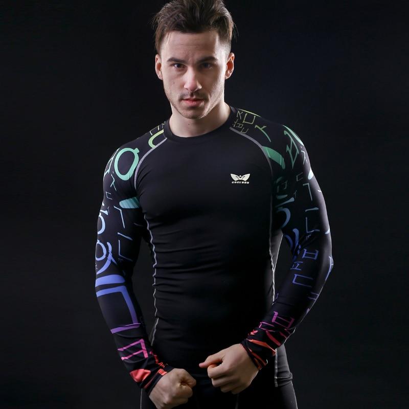 Mens Compression Shirts font b Bodybuilding b font Skin Tight Long Sleeves Jerseys Clothings MMA Crossfit