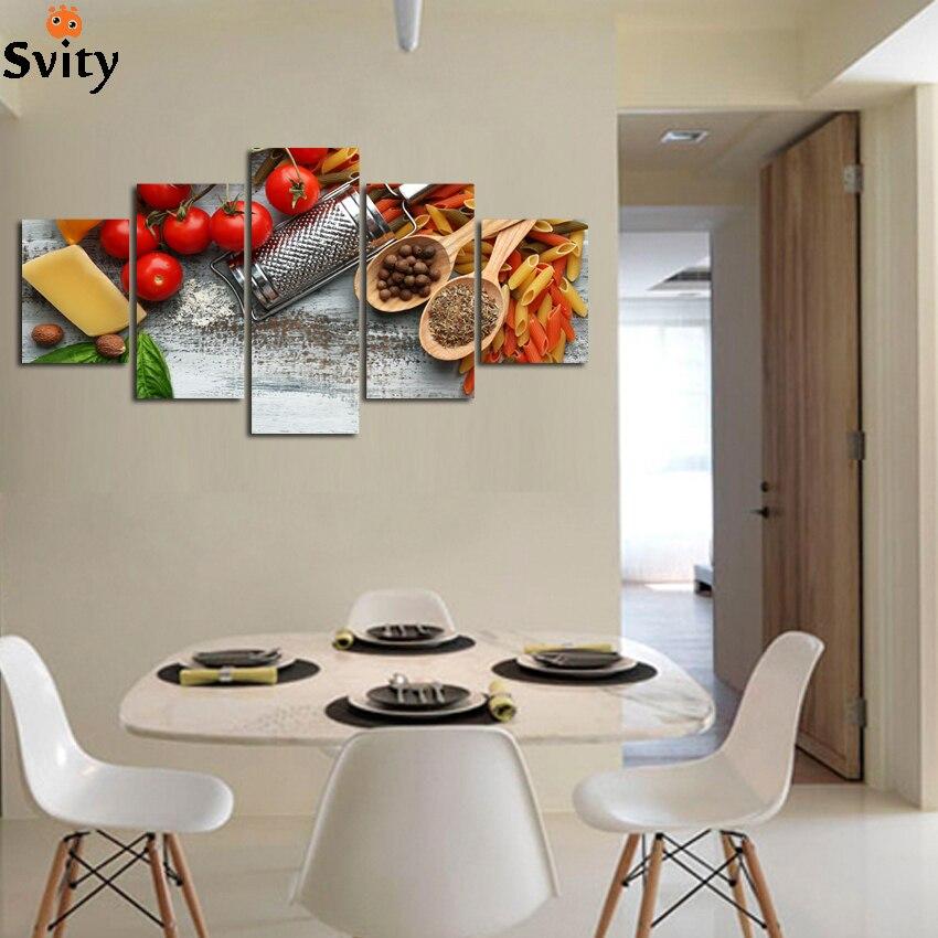 US $9.62 26% di SCONTO|5 pannello di Frutta Da Tavola Della Cucina moderna  Pittura Su Tela di Canapa Immagini di Grandi Dimensioni Della Parete di ...