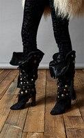 Eunice Choo/черные женские сапоги без шнуровки с перекрестной шнуровкой и кисточками, высокие сапоги до колена с золотыми заклепками и толстым к