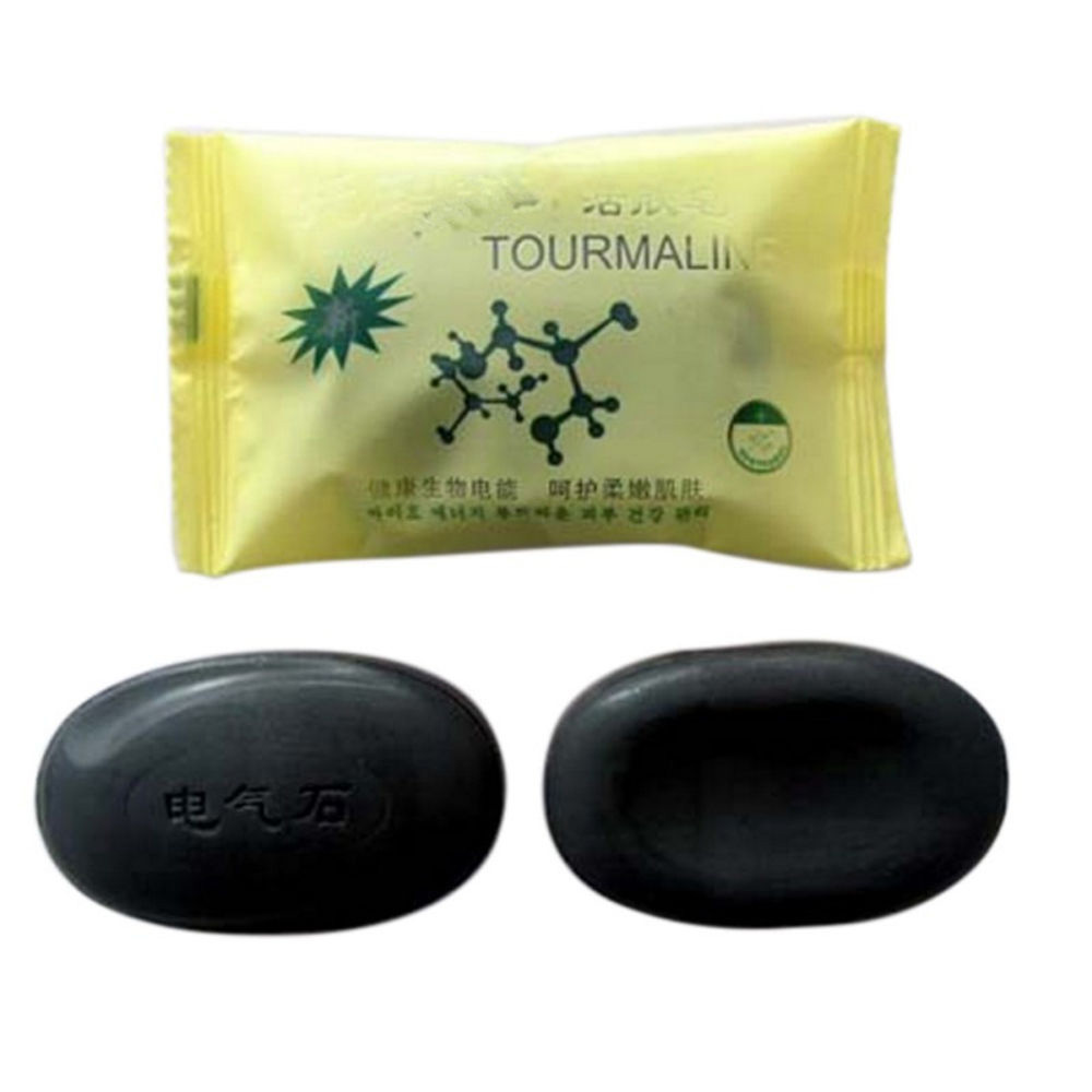 Bamboo Charcoal Tourmaline Soap Natural Dry Skin Eczema Acne Pimples Remover Face Body Clear Anti Bacterial Tourmaline Soap Hot image