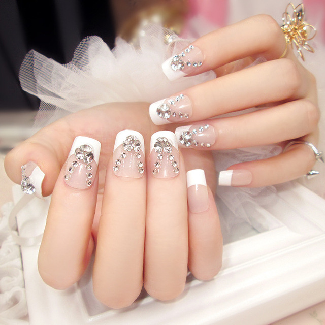 New 24pcs/set clear white french style rhinestone resin Nail Art ...