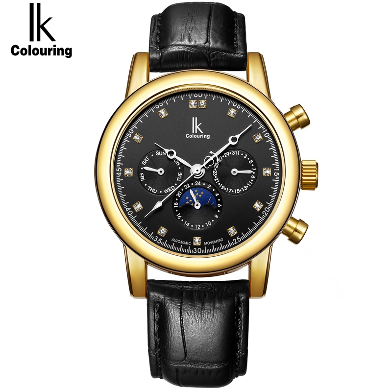 IK Brand Luxury Diamond Automatic Mechanical clock Casual Genuine Leather Strap Moon Phase Business Menss watchIK Brand Luxury Diamond Automatic Mechanical clock Casual Genuine Leather Strap Moon Phase Business Menss watch