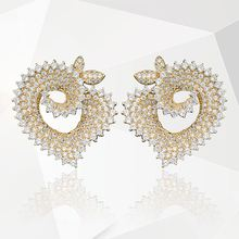 Newness Luxury Heart-Shaped Full Micro AAA Cubic Zirconia Copper Women Dress Party Wedding Bridal Fashion Earring Jewelry Gifts