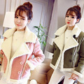 Mulheres Outono Inverno Faux Suede Jacket Moda Quente Grosso Turn-down Collar Motocicleta Casacos Mulheres Outwear H9