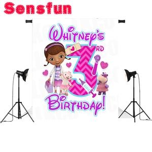 Image 3 - ויניל בד doc mcstuffins פרחי תינוק מקלחת המפלגה מותאם אישית רקע צילום בנות תפאורות 7x5ft