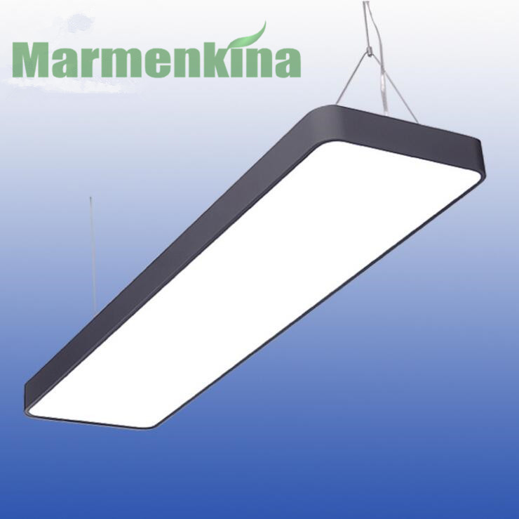 Office LED creative office rectangular chandelier simple garage supermarket hanging lamp office lighting free shipping.
