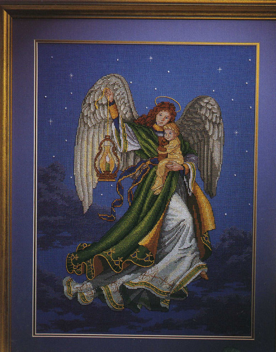 Gold Collection Lovely Counted Cross Stitch Kit Angel Of Dreams Dream Baby Lantern At Starry Night Dim 00269
