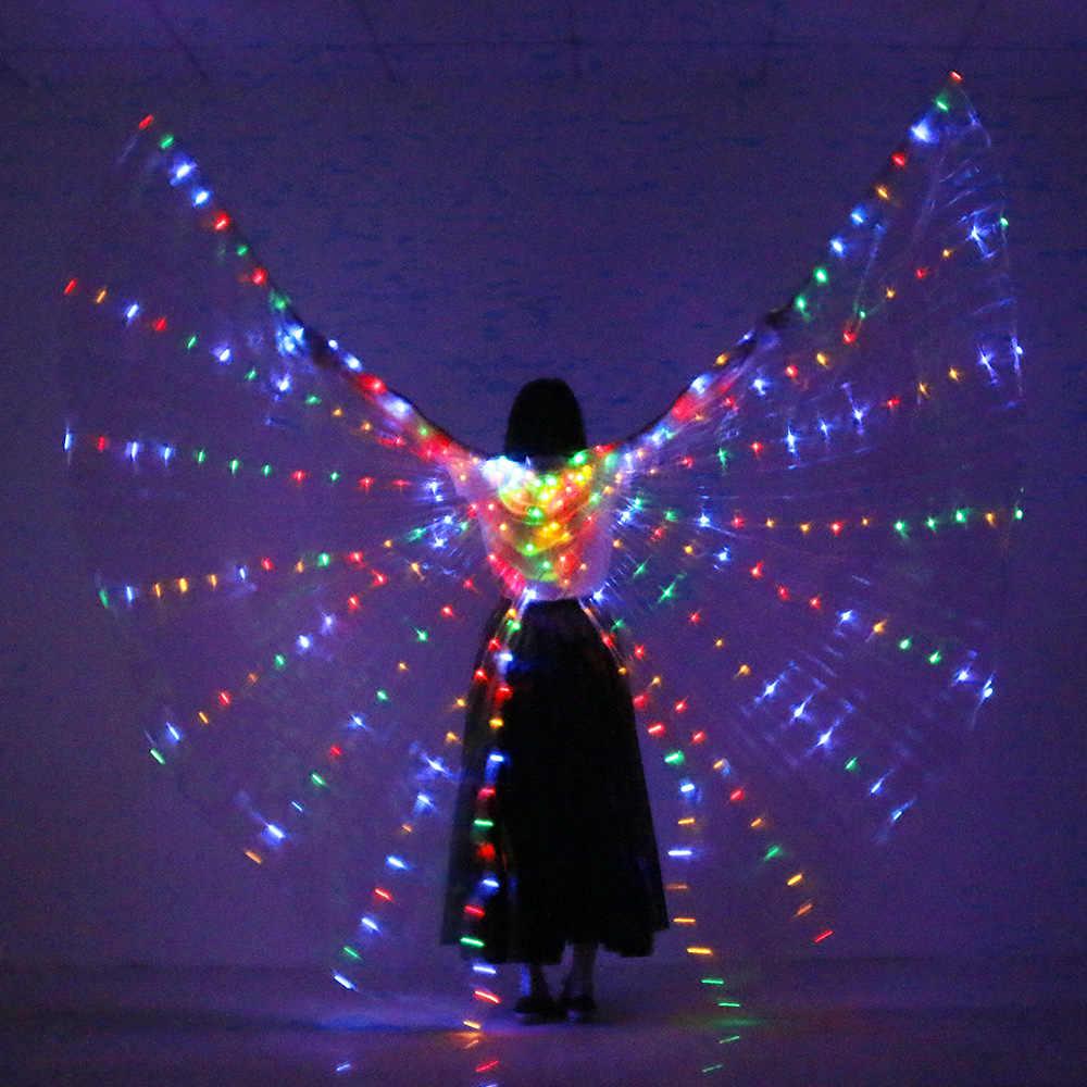 Nouveau Style ouvert LED scène Performance accessoire femmes danse filles LED lumineux ISIS ailes éclairer aile Costume LED ailes avec des bâtons