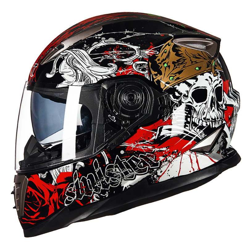 GXT999 Motorcycle SKULL Full Face Helmet Double Lens Men Moto Bike Motorbike Protective Gear Touring Chopper Scooter Helmets