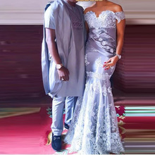 Nigerian Elegant Formal Gowns Mermaid Vestidos De Festa Evening Dress 2018 Robe De Soiree Appliques Tulle Lace Evening Dresses