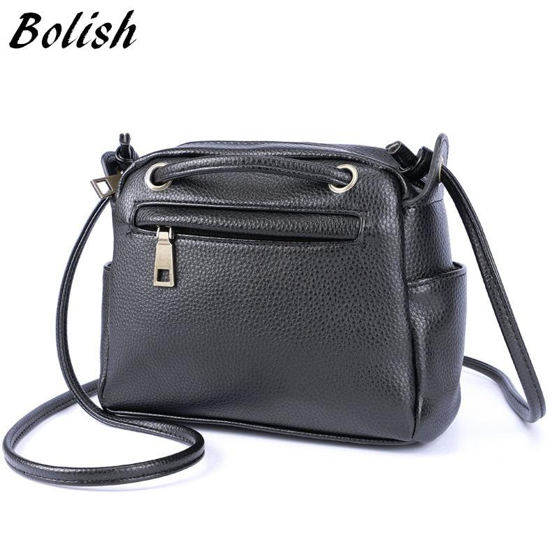 Bolish Hot Sale Soft  PU Leather Women Bag Fashion small Women Shoulder Bag Black color Women Flap Bag